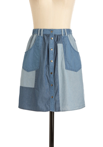 Bird's Eye View Skirt by Gentle Fawn - Blue, Patch, Pockets, Casual, Vintage Inspired, 70s, Short, Denim