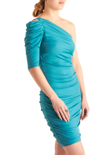 Ruche to Your Side Dress - Mid-length, Party, Blue, Solid, Shift, One Shoulder, Prom, Girls Night Out, Cocktail, Bodycon / Bandage, Ruching