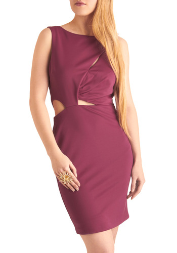 The Final Cutout Dress - Mid-length, Statement, Purple, Solid, Cutout, Shift, Sleeveless, Party