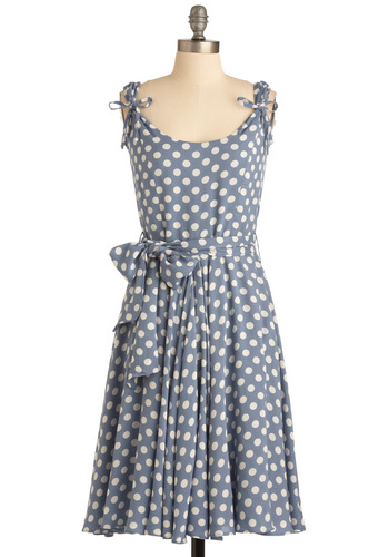 Spot Your Partner Dress - Blue, White, Polka Dots, Bows, Cap Sleeves, Casual, Sheath / Shift, Sleeveless, Print, Long, Belted