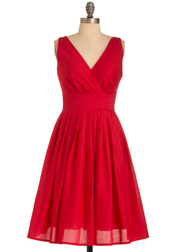 Glamour Power to You Dress in Crimson - Red, Solid, Pleats, A-line, Sleeveless, Vintage Inspired, 50s, Mid-length, Cocktail, Holiday Party, Cotton, Fit & Flare, V Neck, Variation, Daytime Party