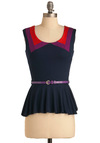 Smile While You Style Top - Mid-length, Casual, Blue, Red, Purple, Buckles, Sleeveless, Belted, Peplum, Jersey, Mod