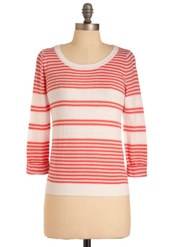 A Nice Dinghy to It Sweater in Coral - Mid-length, White, Stripes, Long Sleeve, Casual, Nautical, Orange