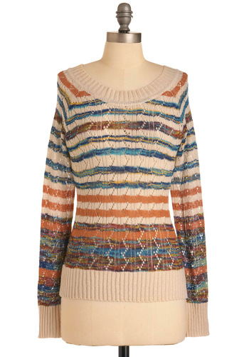Not What It Streams Sweater - Mid-length, Multi, Orange, Blue, Tan / Cream, Stripes, Knitted, Long Sleeve, Casual, Yellow, Brown