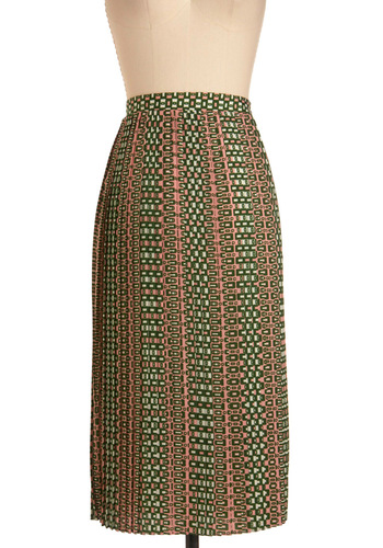 Tile Me About It Skirt - Long, White, Pleats, Green, Pink, Work, Vintage Inspired, 60s, Spring, Print