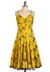 Let's Make a Daffo-deal Dress - Long, Yellow, Black, Floral, Lace, Eyelet, Casual, A-line, Spaghetti Straps, Summer, Fit & Flare, Cotton, V Neck