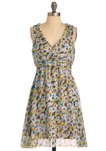 Golden Hour Photo Dress - Mid-length, Multi, Floral, Sheath / Shift, Sleeveless, Casual, Multi, Yellow