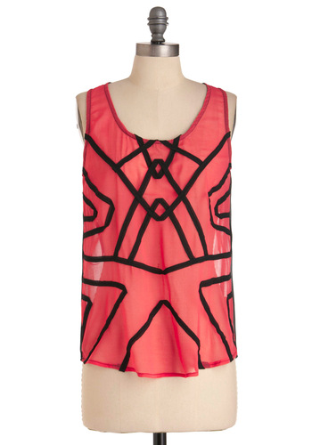 Contour Guide Top - Mid-length, Pink, Sleeveless, Black, Party