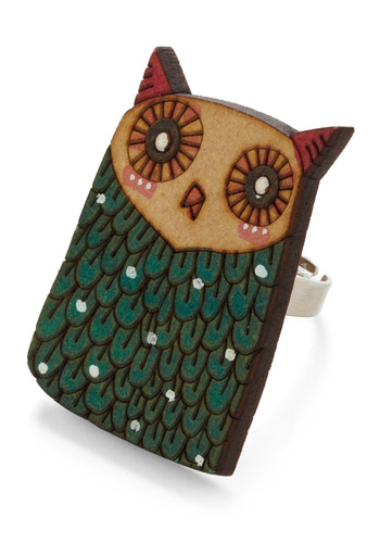 Flight Your Signature Ring - Owls, Green, Pink, Tan / Cream, White, Red, Brown