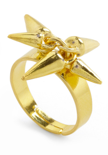 Spikes World Ring - Statement, Gold