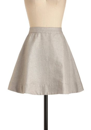 Disco Belle Skirt by Whitney Eve - Short, Silver, Solid, Party, A-line