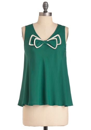 Coppice Accomplice Top - Green, White, Bows, Tank top (2 thick straps), 50s, Mid-length, V Neck