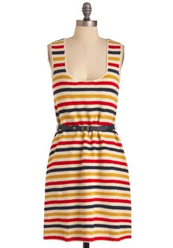 Lauren Moffatt Learning to Crochet Dress by Lauren Moffatt - Mid-length, Casual, Nautical, Multi, Stripes, Sheath / Shift, Red, Yellow, Blue, White, Knitted, Tank top (2 thick straps), Summer
