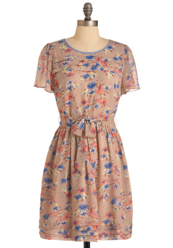 Patch of Pansies Dress by Darling - Mid-length, Multi, Blue, Floral, Buttons, Pink, Brown, Tan / Cream, Cutout, Casual, Sheath / Shift, Short Sleeves, Spring