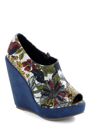 Class at the Conservatory Wedge - Blue, Red, Yellow, Green, White, Floral, Exposed zipper, Statement, Multi, Casual, Spring, Wedge