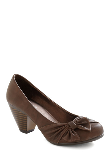 Hot Fudge Sunday Heel - Brown, Solid, Bows, Casual, Work