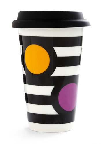 Things Are Taking Shape Travel Mug - Yellow, Purple, Black, White, Stripes