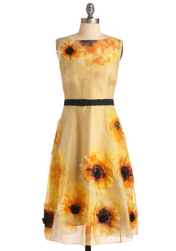 Tracy Reese Floral All Time Dress by Tracy Reese - Long, Tan, Yellow, Floral, Flower, A-line, Sleeveless, Formal, Wedding, Statement, Black, Beads, Spring