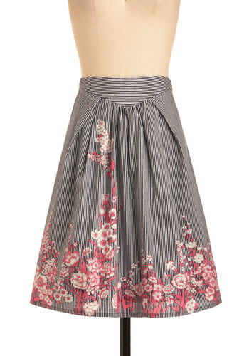 Litho So Sweet Skirt - Mid-length, Casual, Vintage Inspired, Red, Stripes, Floral, Novelty Print, Pleats, Pink, Black, White, Work, A-line, Spring, Multi