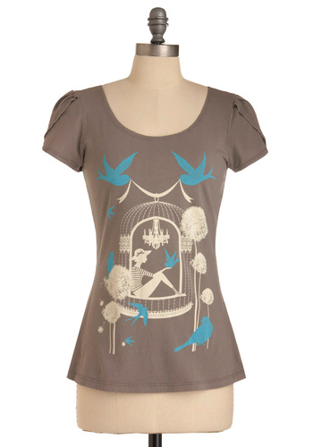 Your Happy Place Tee - Mid-length, Blue, Novelty Print, Casual, Grey, White, Cap Sleeves, Cotton