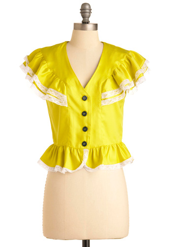 A La Oleander Top - Short, Black, White, Buttons, Lace, Ruffles, Tiered, Cap Sleeves, Yellow, Solid, Casual, Spring