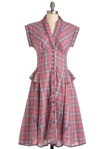 'Til the Gals Come Home Dress - Long, Pink, Multi, Plaid, Buttons, A-line, Cap Sleeves, Casual, Ruffles, 40s, Rustic, Steampunk, Boho, Cotton, Button Down, V Neck, Fall