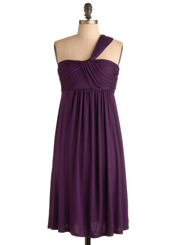 SoCal Bungalow Dress in Purple - Purple, Solid, Casual, A-line, Empire, One Shoulder, Spring, Summer, Long