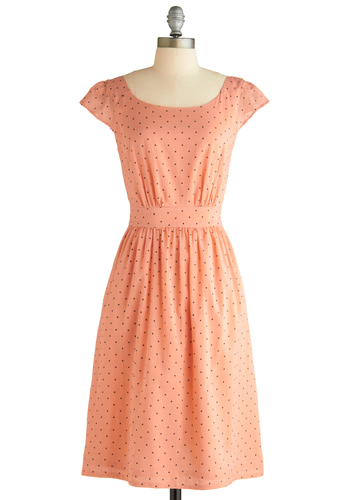 Get What You Dessert Dress in Polka Dots by Emily and Fin - Orange, Polka Dots, A-line, Cap Sleeves, Vintage Inspired, Black, Pockets, Long, International Designer