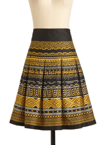 Deco District Skirt - Mid-length, White, Print, Pleats, Yellow, Black, Casual, A-line, Vintage Inspired, 20s, 30s