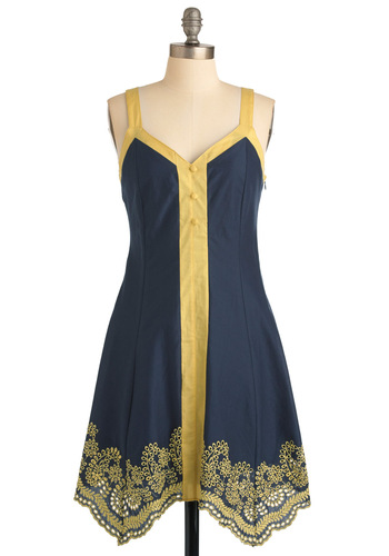 Not Just a Phase Dress - Blue, Yellow, Trim, A-line, Tank top (2 thick straps), Casual, Buttons, Summer, Short, Eyelet, Cotton