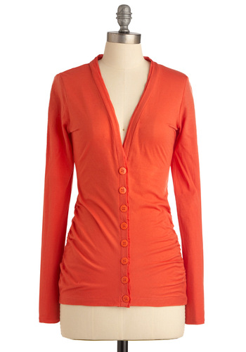 Coffee Break from the Norm Cardigan - Mid-length, Casual, Orange, Solid, Buttons, Long Sleeve