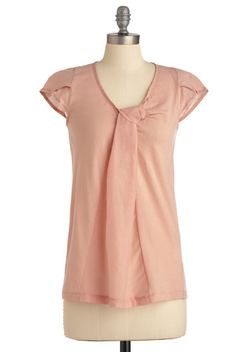 Rose Water You Doing? Top - Pink, Solid, Cap Sleeves, Casual, Spring, Mid-length