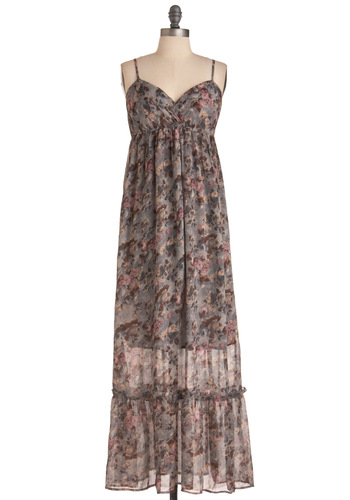 Pressed Flower Collection Dress - Casual, Multi, Floral, Ruffles, Maxi, Spaghetti Straps, Grey, Blue, Purple, Brown, Long, Spring, Sheer, Beach/Resort