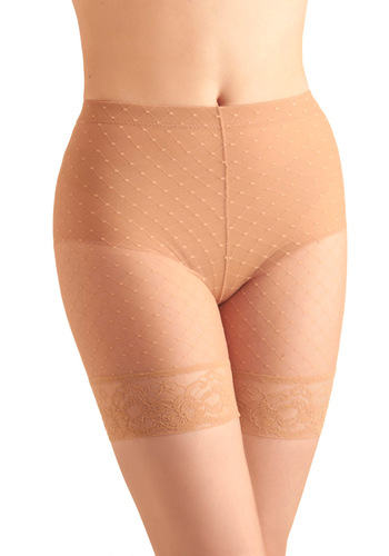 Luxe Life Contouring Shorts - Vintage Inspired, 40s, 50s, 60s, Polka Dots, Tan, Lace, Trim, Sheer, Variation