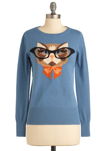 Cat Eyeglasses Sweater - Mid-length, Blue, Orange, Brown, Tan / Cream, Black, Print with Animals, Long Sleeve, Casual