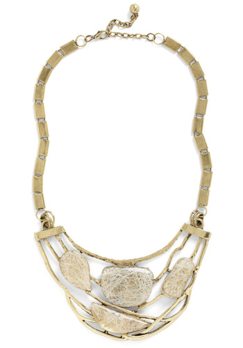 Smoothed by the Sea Necklace - Gold, Tan / Cream, Chain, Cutout, Casual, Statement