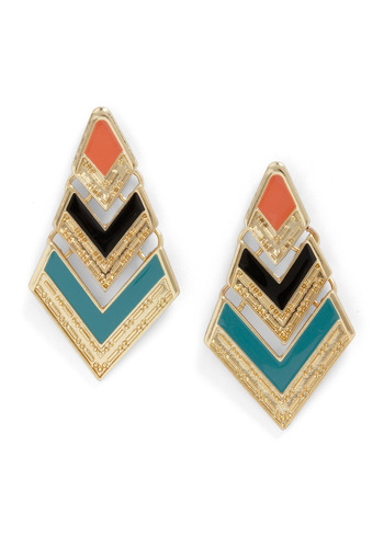 Point Me Toward the Shore Earrings - Gold, Orange, Green, Black, Pink