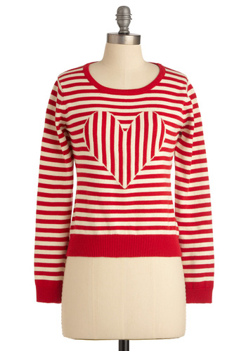 Subtle Flirtation Sweater by Sugarhill Boutique - Short, Casual, Red, White, Stripes, Long Sleeve, Buttons, Spring, Pinup, International Designer