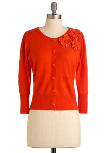 College Appliques Cardigan by Tulle Clothing - Short, Orange, Solid, Flower, Long Sleeve, Buttons, Vintage Inspired
