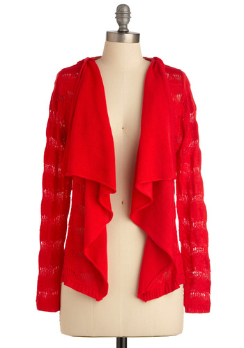 Picnic in Provincetown Cardigan by Tulle Clothing - Mid-length, Casual, Red, Solid, Long Sleeve, Knitted, Ruffles