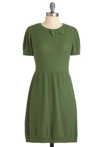 Herb It On the Radio Dress by Tulle Clothing - Casual, Vintage Inspired, Green, Solid, Bows, Short Sleeves, Knitted, 60s, Sweater Dress, Fall, Short