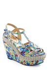 Bouquet by the Bay Wedge by Poetic License - Multi, Gold, Floral, Braided, Buckles, Cutout, Casual, Spring, Wedge, Best, T-Strap