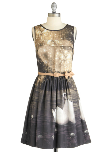 Swan in a Million Dress by Eva Franco - Tan / Cream, Print with Animals, Bows, A-line, Sleeveless, Party, Statement, Mid-length, Belted, Daytime Party, Fit & Flare, Multi, Blue, Grey