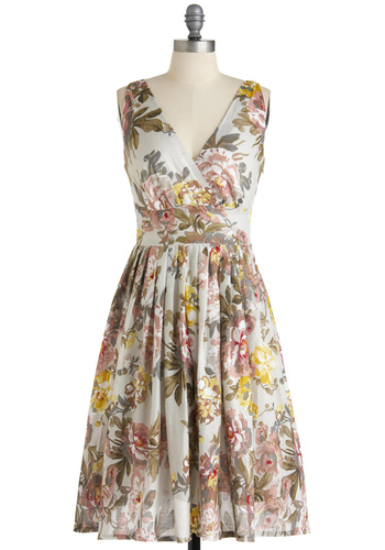 Glamour Power to You Dress in Blossoms - Floral, A-line, Sleeveless, Multi, Yellow, Pink, Tan / Cream, White, Spring, Long