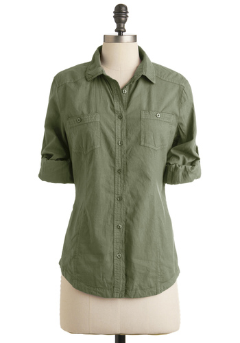 Sunday in Santa Fe Top in Fern - Casual, Military, Safari, Menswear Inspired, Green, Solid, Buttons, Pockets, Long Sleeve, Fall, Mid-length