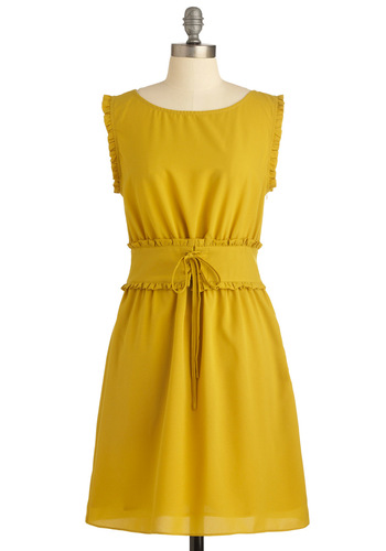 Sun and Games Dress - Mid-length, Yellow, Solid, Ruffles, Trim, A-line, Sleeveless, Bows, Casual