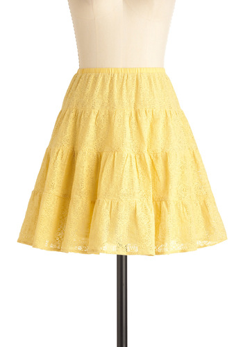 Lemon Square Dance Skirt - Short, Yellow, Tan / Cream, Solid, Lace, Ruffles, A-line