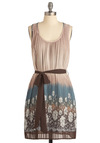 Borderline Perfect Dress - Mid-length, Tan, Multi, Floral, Tie Dye, Pleats, A-line, Sleeveless, Casual, Belted