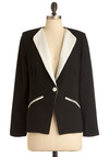 Honey I'm Monochrome Blazer - Mid-length, Black, White, Buttons, Pockets, Long Sleeve, Work, Menswear Inspired, Vintage Inspired, 80s, 1.5