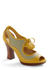 Maritime to Study Heel by Poetic License - Yellow, Blue, Brown, White, Stripes, Bows, Cutout, Tassles, Work, Casual, Vintage Inspired, Spring